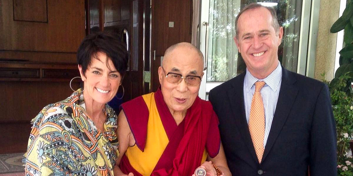 From left, Julie Tait, Dalai Lama and Anaheim Mayor Tom Tait in Dharamsala, India. Image courtesy of Tom Tait